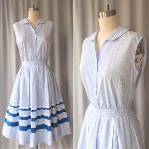 Vintage 60s Rockabilly Pleated Skirt & Blouse Set